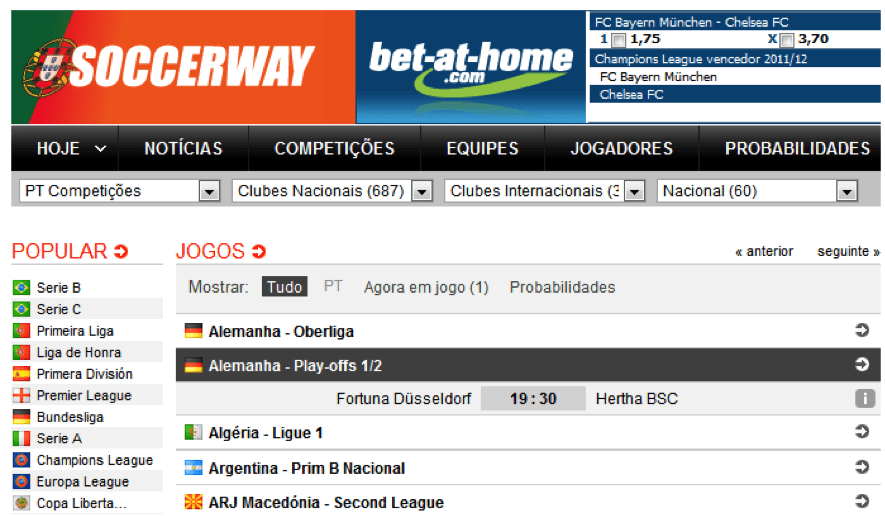 Unders e Overs: soccerway