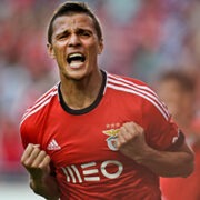Benfica's Brazilian forward Rodrigo Lima celebrates after scorin